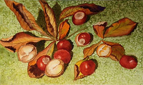 Painting - Horse Chestnuts - Treasures o