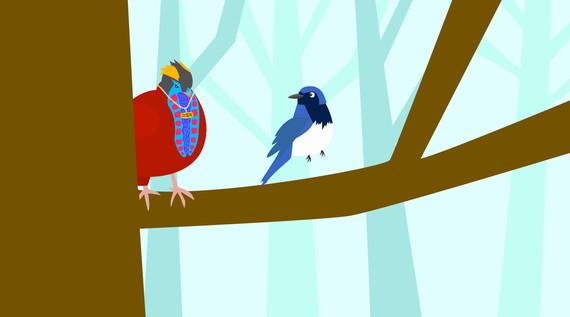 傲慢で鮮やかな鳥に驚かされて木から落ちてしまう……