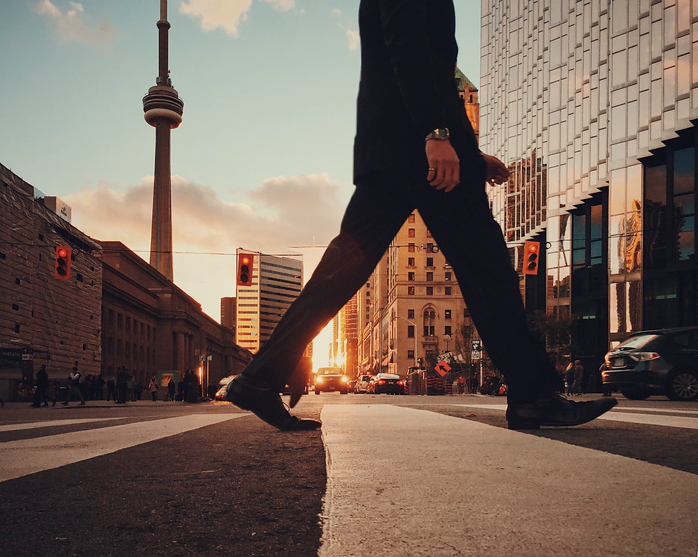 Walking feet through City Intersection