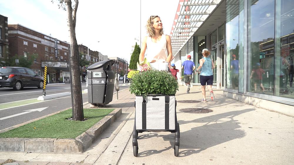 Woman with VOOMcart on Sidewalk