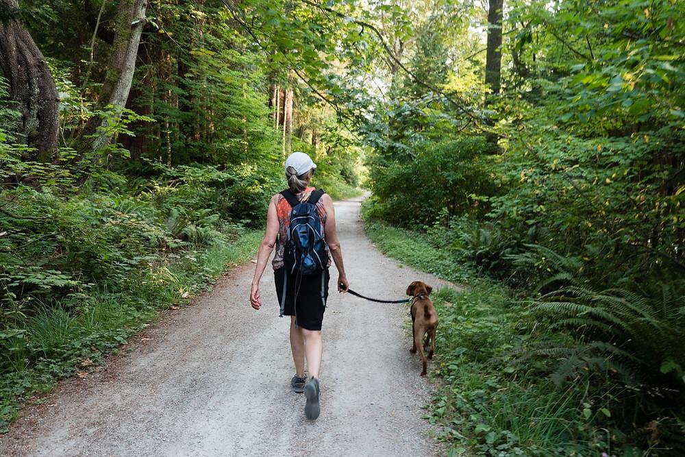 Woman walking dog through forest