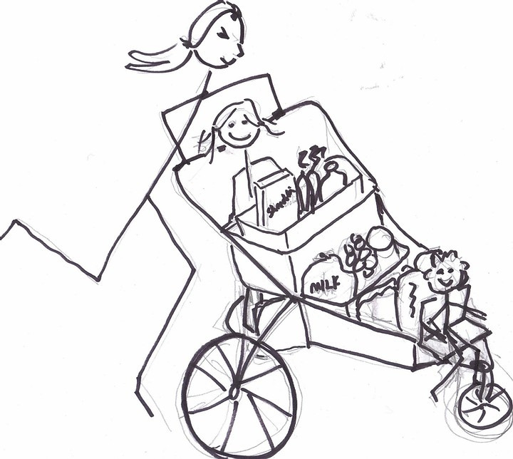 Line drawing of woman and kids in stroller