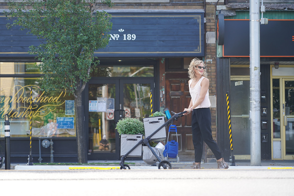 Woman with VOOMcart on the Danforth