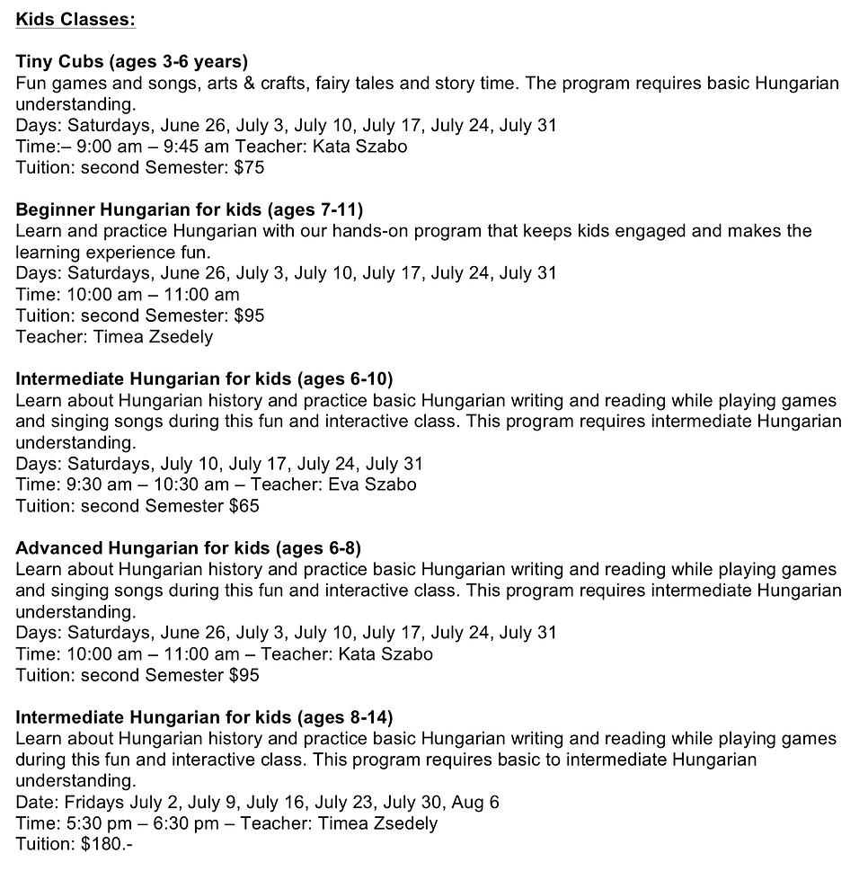 Kids Summer classes 2021