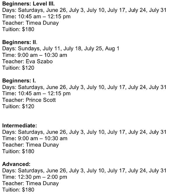 Adult Summer classes 2021