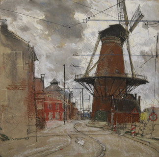 Windmilll by Tracks, Delft