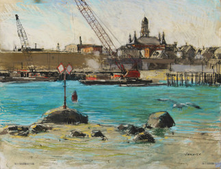 Harbor Scene with Barges