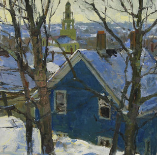 Blue House in Snow