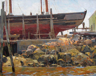 Schooner Hauled Out at Rocky Neck