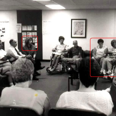 March 1988 - Cazzolli (far left) facilitated support meeting in Canton, Ohio - Ann Leo is on far right