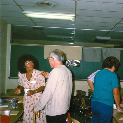 June 1988 - Valerie Becker (far left) being recruited to serve in first ALSA Chapetr board