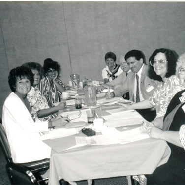 On 8-2-88, ALSA Eastern OH Chapt- Original board, L to R - G Lombardo, A Tubalkain, Valerie Becker, (D Lowland, ALSA guest), C Warner, Dr Lattavo, S Samuels, B DeMichael - Missing Judy Post