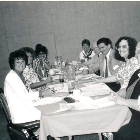 On 8-2-88, ALSA Eastern OH Chapt- Original board, L to R - G Lombardo, A Tubalkain, Valerie Becker, (D Lowland, ALSA guest), C Warner, Dr Lattavo, S Samuels, B DeMichael - Missing Judy Post