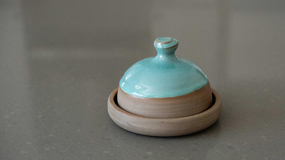 Grey and Turquoise Butter Dish