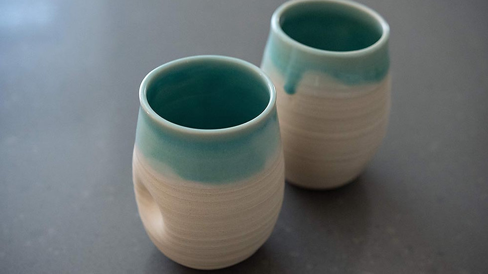 Turquoise and White Wine Glass