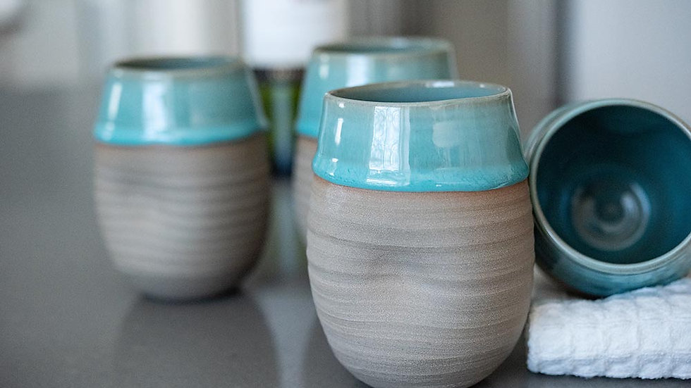Turquoise and Grey Stemless Wine Glass