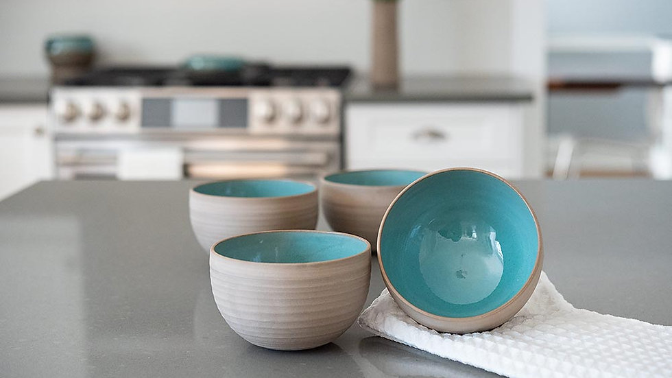 Grey and Turquoise Cereal Bowl