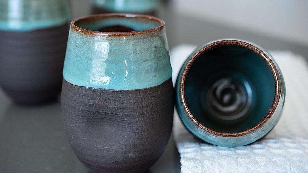Turquoise and Dark Chocolate Wine Glass