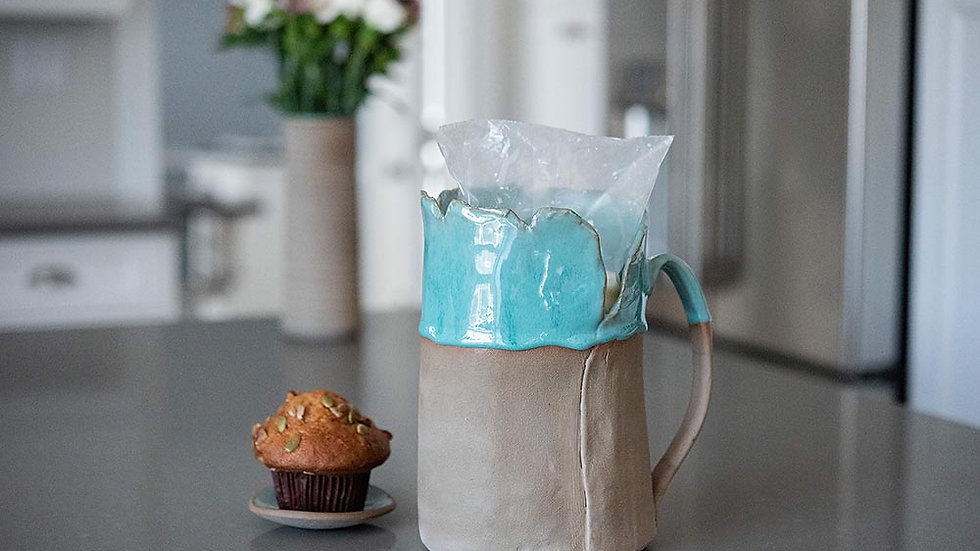 Grey and Turquoise Milk Jug
