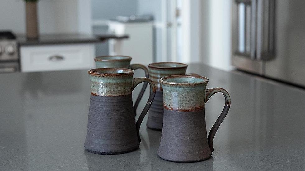 Chocolate Brown Stoneware and Turquoise Mug