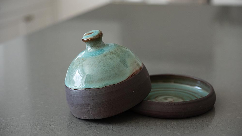 Chocolate Brown And Turquoise Butter Dish