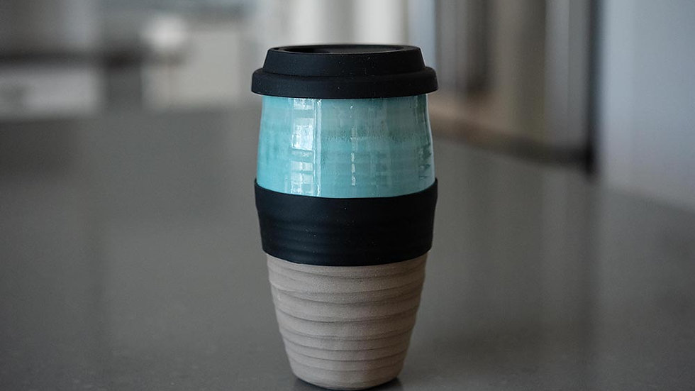 Turquoise and Grey Travel Mug