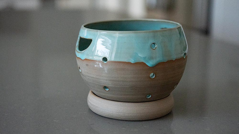 Turquoise and Grey Berry Bowl