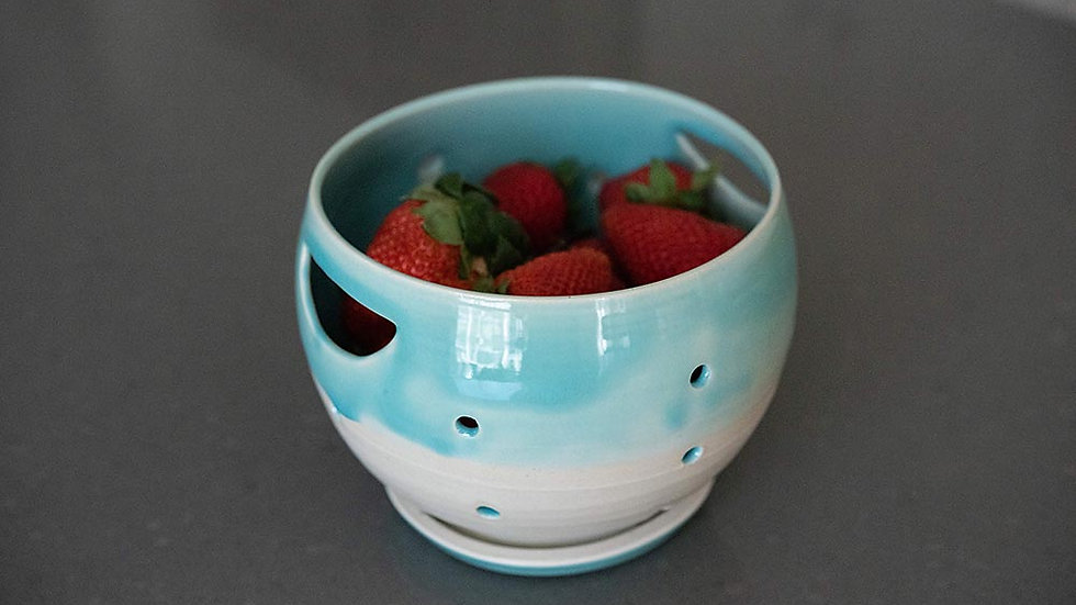 Turquoise and White Berry Bowl