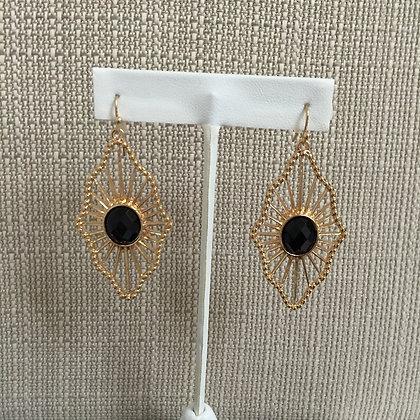Diamon Black Stone Earings