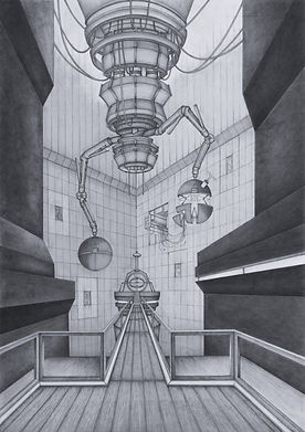 drawing made using graphite and marker of a sterile and tall machine chamber