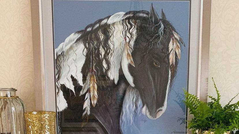 Indian Blue Framed Original Artwork