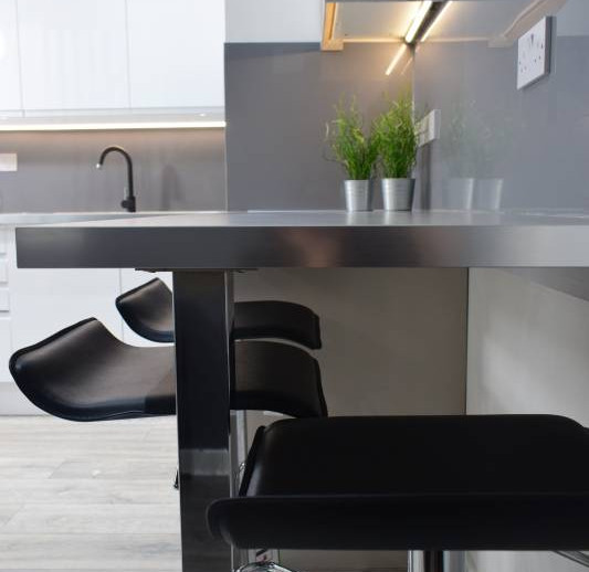 Breakfast bar, housemates shared space