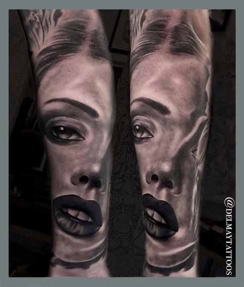 womans face portait tattoo