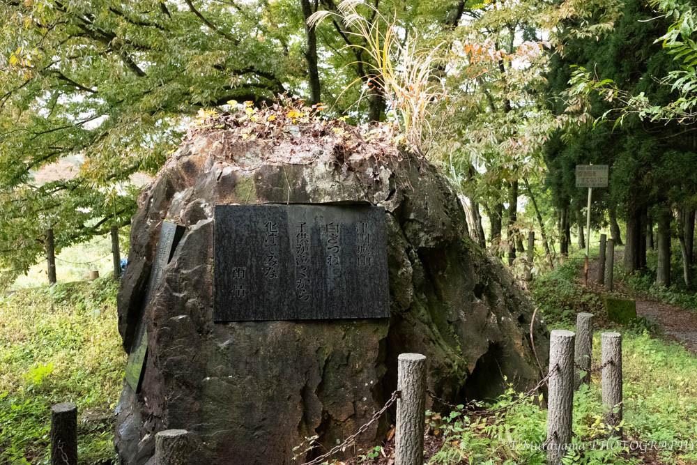 山道の傍らにある雨情の碑
