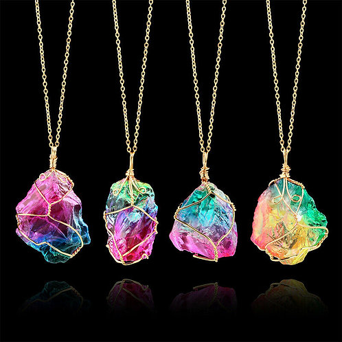 Rainbow Crystal with Gold Wire Wrapping and Chain
