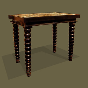 Mesa de centro en madera de roble ebonizada con tapa de mármol con terracota fosilizada.