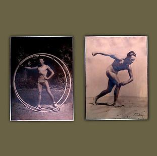 Fotografías originales en blanco y negro de dos bañistas posando. Firmadas Henri Manuel (Paris, 1874-1947).