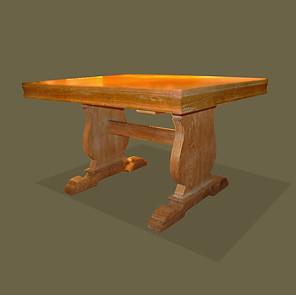 Mesa de roble en el estilo de Jean-Charles Moreux con cuatro tableros supletorios en pino.