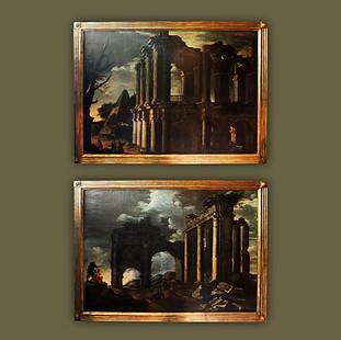 """Pareja de """"Capricci"""" con ruinas clásicas y personajes en una tormenta."""