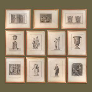 Colección de 13 grabados Neoclásicos* ilustrando  esculturas y relieves de la antigüedad.