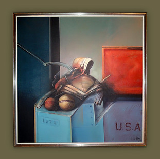 """Cuadro surrealista titulado """"Procedencia dudosa"""" de Luís Sáez Díez.  Óleo sobre lienzo."""