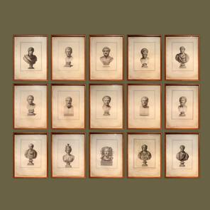 Colección de 15 grabados de bustos romanos.