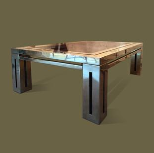 Mesa de café en latón y sobre de cristal ahumado,  Mercier Frères.