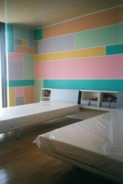 Chambre Mondrian pastel