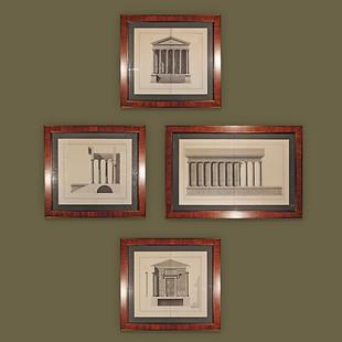 """Cuatro grabados de la fachada y elevación frontal de """"La Maison Carrée"""" de Nimes con marcos en madera de palo de rosa."""