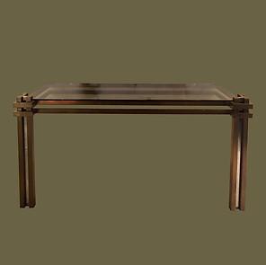 """Consola de estilo """"Brutalista"""" en acero color bronce y cromado  con tapa de cristal ahumado. Romeo Rega."""