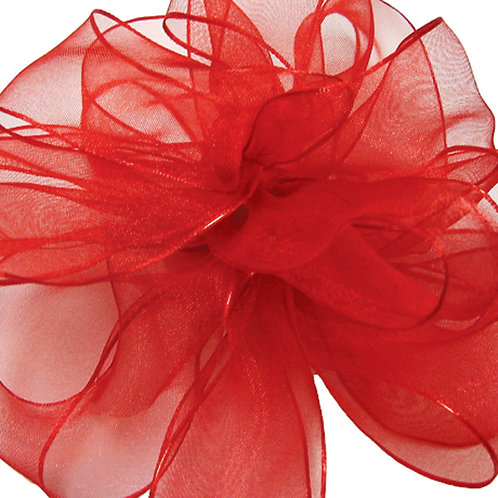 Offray WIRED ORGANZA 2 1/2'' RED 25 YARDS