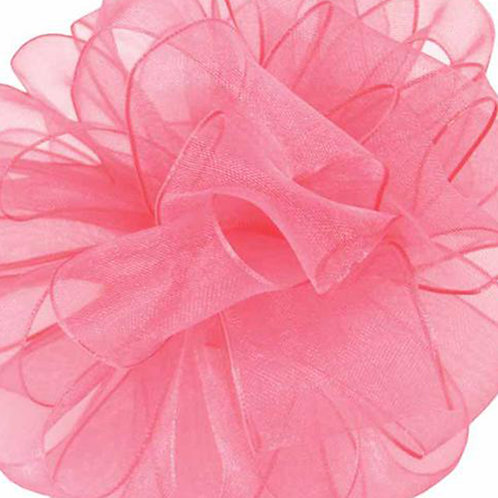 Offray WIRED ORGANZA 5/8'' PRTY PINK 25 YARDS