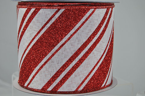RIBBON CANDY CANE STRIPES 4X10 RED