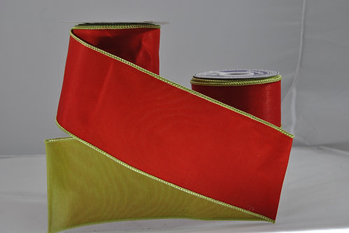 RIBBON DOUBLE SATIN 2.5X10 RED/GR